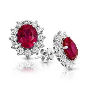8.50 ct Round cut ruby with diamonds lady studs ea